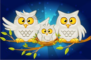 Cartoon funny family of grey owls