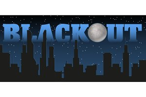 Silhouette of the city and night with stars, fool moon at the dark sky and blackout title