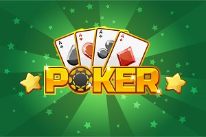 logo text POKER and Playing cards, For Ui Game element