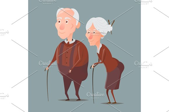 grandmother and grandfather walking with sticks