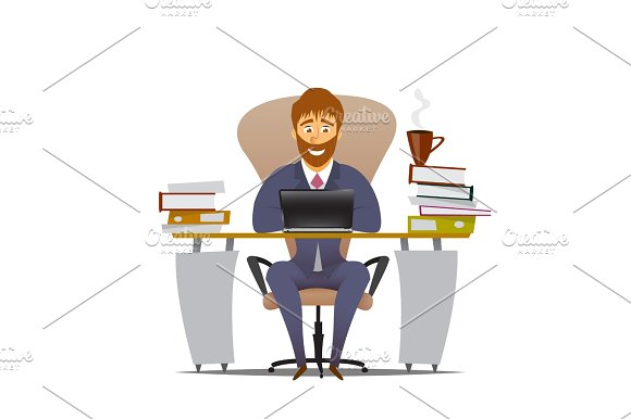 Worker Works At An Office And Smiling