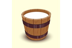 Milk in wooden bucket vector illustration