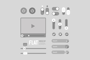 Flat Web UI Elements Design Gray