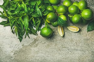 Freshly picked limes and mint