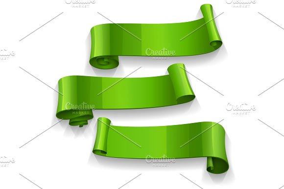 Realistic Green Glossy Ribbons
