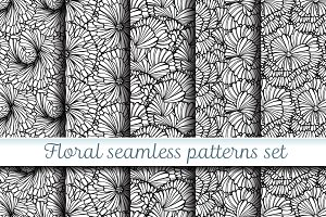 Black and white floral patterns set
