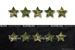 Five stars with military camouflage
