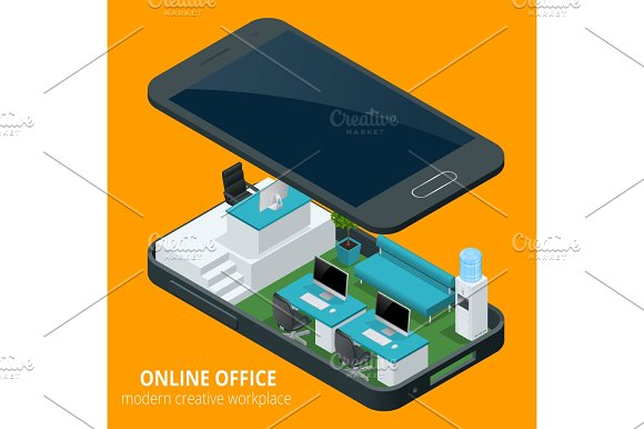 Online Office Concept Isometric Vector Illustration Office Work Business Concept Office Furniture Workflow Are Isolated