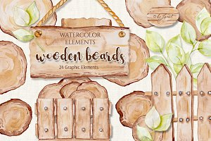 Wooden Boards Watercolor