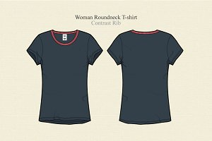 Woman Round Neck T-shirt Vector