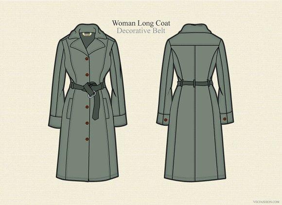Woman Long Coat Vector Template