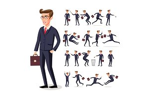 set businessman in dark suit vector