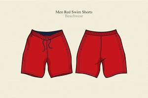 Men Swim Shorts Vector Template