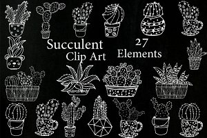 Chalkboard Succulent Clipart