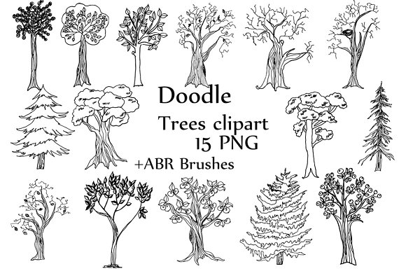 Trees Doodle Clipart