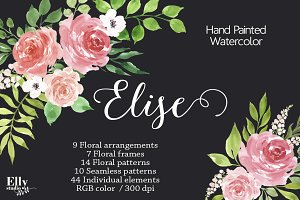 Watercolor flower Clip Art - Elise