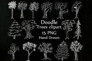 Chalkboard Trees clipart