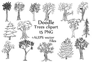 Doodle Trees Vector clipart