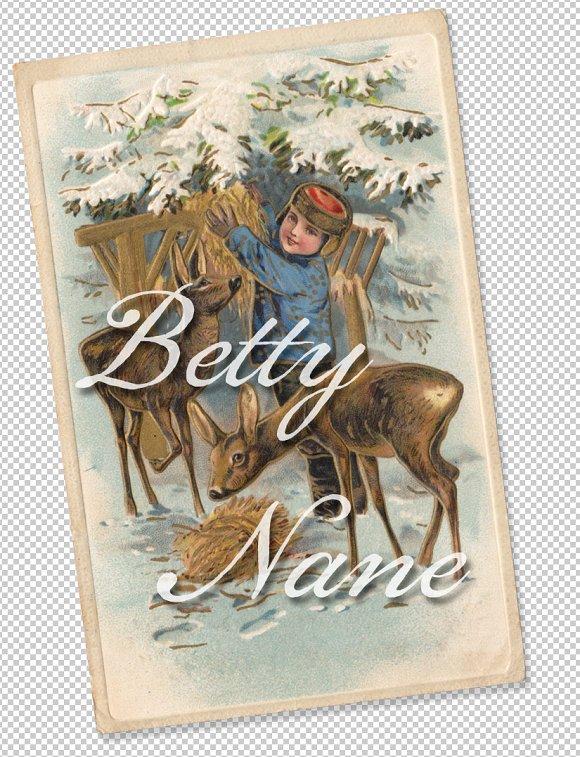 Christmas Greetings Feeding Fawns
