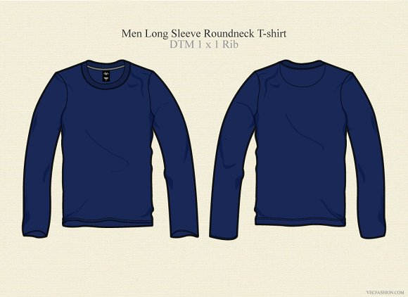Men long sleeve round neck t shirt illustrations on for Long sleeve t shirt template