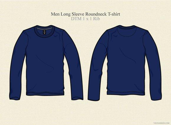 men long sleeve round neck t shirt illustrations on creative market. Black Bedroom Furniture Sets. Home Design Ideas
