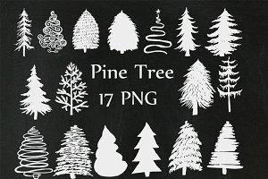 Christmas Chalkboard Trees Clipart