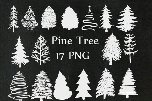 Christmas Chalkboard Trees Clipart