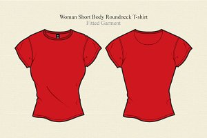 Woman Short Body Round Neck T-shirt