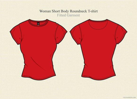 Woman Short Body Round Neck T-shirt