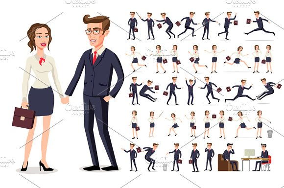 Set Woman And Men Business People