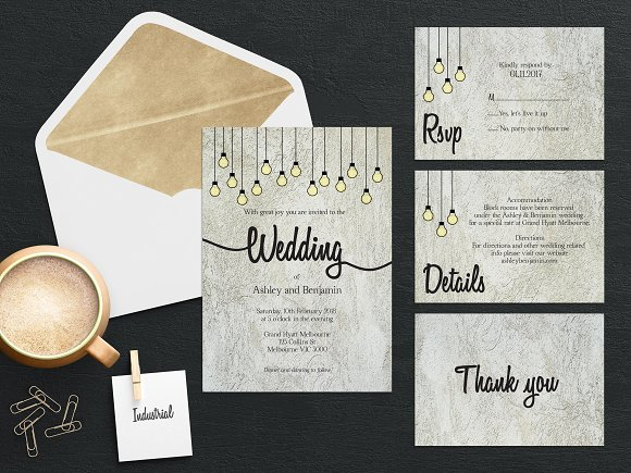 Industrial Wedding Invitation Suite