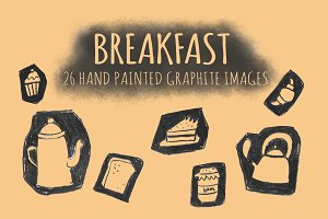 Breakfast Graphite Clipart