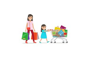 Family out on Shopping Illustration. Shopping Set