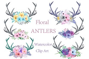Watercolor floral antlers clipart