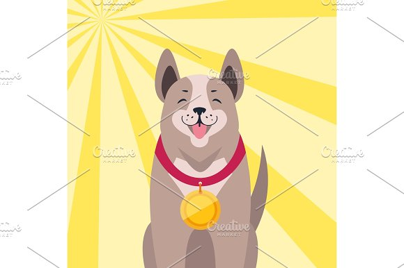 Happy Dog With Medal Cartoon Flat Vector