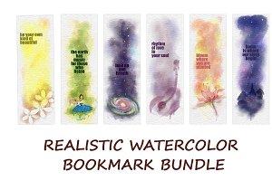 REALISTIC WATERCOLOR BOOKMARK BUNDLE