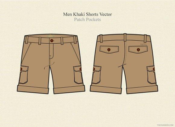 Men Khaki Shorts Vector Template