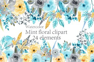 Watercolor Mint Floral clipart