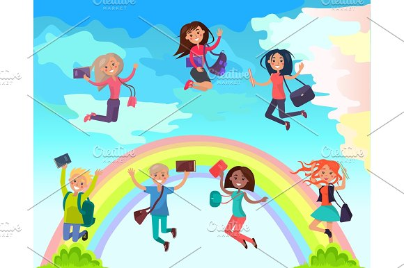 Happy Students On Summer Holidays Vector Concept