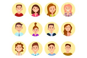 Happy Cartoon Children Portraits in Circles Set