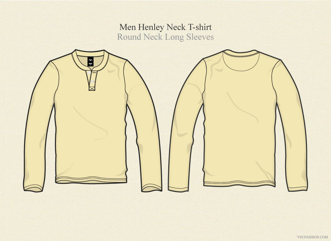 916a5024 Men Henley Neck T Shirt Long Sleeves ~ Illustrations ~ Creative Market
