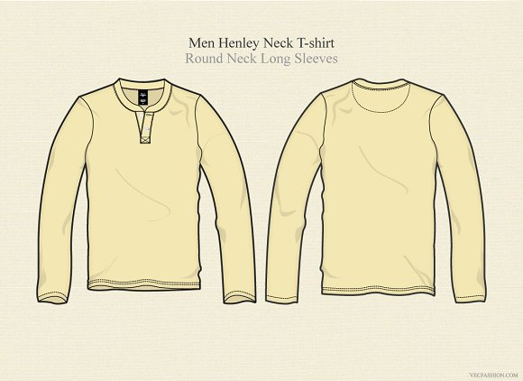 Men Henley Neck T Shirt Long Sleeves in Illustrations