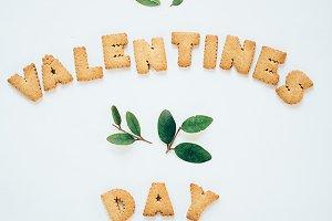 Happy valentine written with cookies
