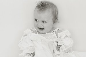 Sweet Baby Girl in White Cotton  TWO