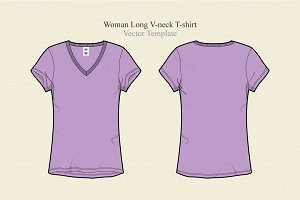Women Long V-neck Vector Template