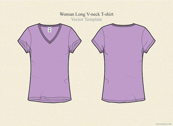 Women Long V Neck Vector Template Illustrations