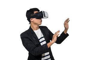 Businessman wearing virtual reality
