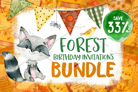 BUNDLE Forest Birthday Invitations