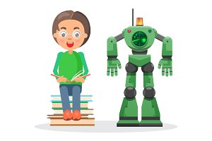Child Sits on Pile of Books and Reads Beside Robot