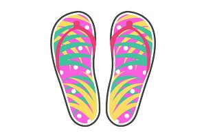Pair of Colorful Flip-Flops Flat Vector Icon